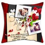 Мини подушки на день Валентина, любые надписи и фото