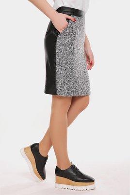 Стильная прямая шерстяная юбка ткань твид эко-кожа Tweed YB-1606С скл.8