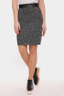 Стильная прямая шерстяная юбка ткань твид эко-кожа Tweed YB-1606В скл.8