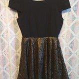 Платье с открытой спинкой золотое кружево Boohoo