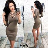 Женское платье с глубоким декольте, размеры 42,44,46,48, креп-дайвинг