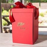Подарочная коробка для розы в колбе Lerosh - 27 см, Красная