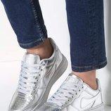 Кроссовки в стиле Fors серебро низкие