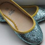 тапочки балетки голубой глитер