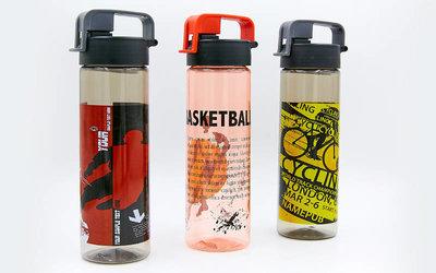 Бутылка для воды спортивная Football 6637 3 цвета, объем 600мл