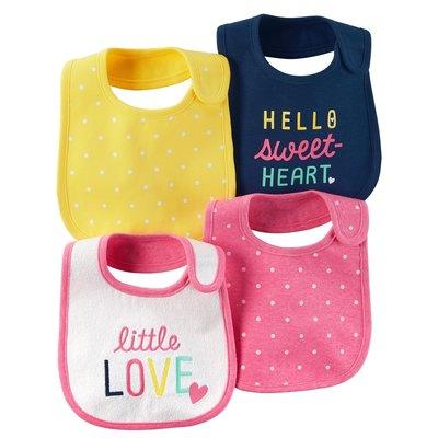 Набор слюнявчиков из 4-х штук для девочки Carters любимый горошек