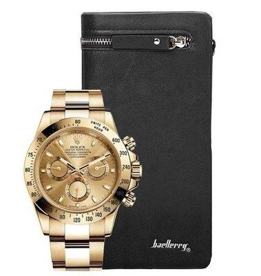 Комплект часы Rolex Daytona и портмоне Baellerry Italia black