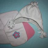 Очаровательный флисовый Набор шапка шарфик для девочки от 3 до 6/7лет