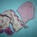 Красивый набор шапка шарфик в отличном состоянии для девочки до 4лет