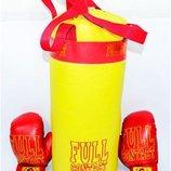 Боксерский набор «Full» Большой желтого цвета. В комплект входит груша и две боксерские перчатки