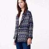 Стильная вязаная куртка пиджак из хлопка - новая - mango oversize, xs, синий меланж