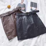 Юбка из эко кожи с карманами 42-44 два цвета