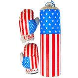 Боксерский набор «Америка» средний. В комплект входит груша и две боксерские перчатки