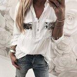 Рубашка свободного кроя белая