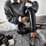 Теплый свитер с бусинами серый 42-44