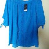Новая синяя блуза с кружевными вставками George