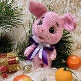 Мягкая игрушка ручной работы вязаный поросенок свинка хрюшка свинья