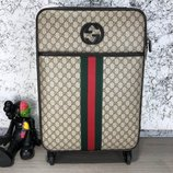 Чемодан Gucci Rolling Luggage Signature 55 with Web Beige