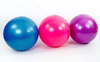 Мяч для фитнеса фитбол полумассажный 75см Zel 4437-75 вес 1300г, система ABS
