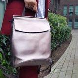 Рюкзак сумка трансформер в натуральной коже Розовый модель Соффи