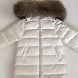 Зимний белый пуховик Liebei LB Монклер Moncler с натуральной опушкой