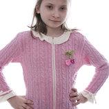 Весенняя вязаная кофта Цветочек Тм Дайс , 92-128 см бордо, розовый, салатовый