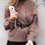 Теплые свитера объемной вязки 42/46 четыре расцветки