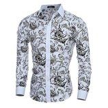 Рубашка длинный рукав белая цветочный принт VSKA