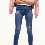 Высокие джинсы c разрезами stradivarius оригинал из испании р.42 l-xl