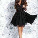 Нарядное платье чёрное гипюр фатин
