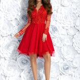 Нарядное вечернее платье красное синее гипюровое фатин