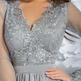 Нарядное вечернее платье армани шелк, гипюр, сетка розовое серое голубое