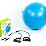 Мяч для фитнеса фитбол с эспандерами гладкий глянцевый 075T-65 диаметр 65см, вес 1100г