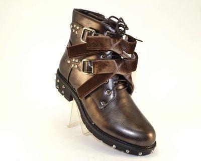 f0d9da29 Стильные молодёжные коричневые ботинки с шипами бантами низкий каблук  демисезон
