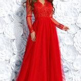 Нарядное вечернее платье в пол гипюр розовое синее красный черный