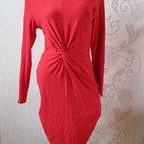 Платье трикотажное/коралловое/52% вискоза/45% хлопок/m-l
