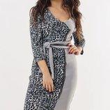 Платье XL с тигровым принтом черное серое стрейч трикотаж