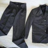 Классический мужской костюм двойка, брюки и пиджак, р. 48 L, серый, отличное состояние.
