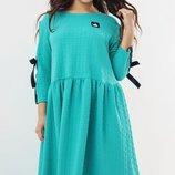 Трикотажное платьеXL ленточки голубое пудра мята серое
