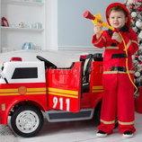 Детский электромобиль Пожарная машина M 3827EBLR-3 4 мотора, сидение эко-кожа, водный пистолет