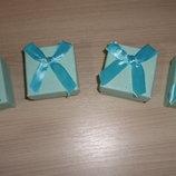 Подарочная упаковка с бантом. Коробка набор 4 шт Голубой