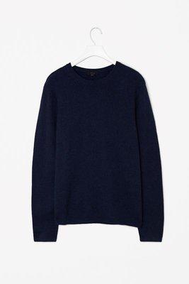 Синий мужской шерстяной свитер теплая вязаная кофта длинный рукав COS