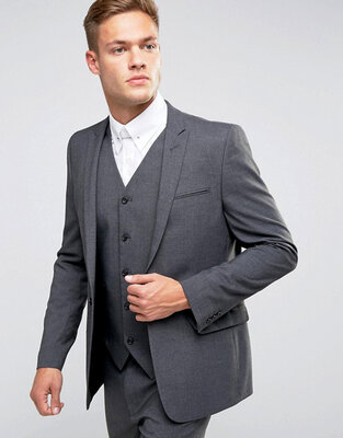 Классический серый шерстяной пиджак next