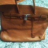 Шикарная кожаная сумка в стиле Hermes