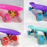 скейт Penny board Exclusive Led светящийся колеса, розовый, фиолетовый, голубой