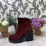 Демисезонные ботинки, натуральная кожа или замш, черный, марсала, никель