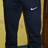 Спортивные штаны теплые полу-боталы Nike прямые синие.