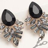 Серьги с черными кристаллами код 104