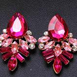 Серьги с розовыми кристаллами код 104