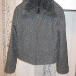 Обвал цен актуальная куртка-бомбер шерсть серый меланж мех воротник м-л, 44-46
